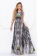Анималистический принт платье серое