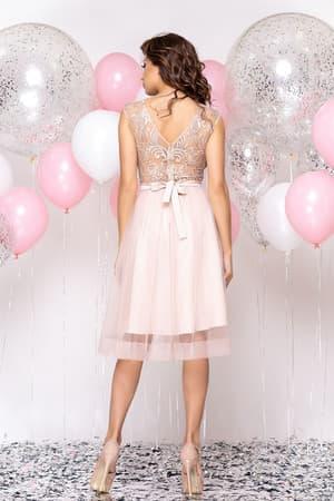 Коктейльное платье с прозрачной вставкой на юбке, фото 2