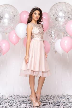 Коктейльное платье с прозрачной вставкой на юбке, фото 3