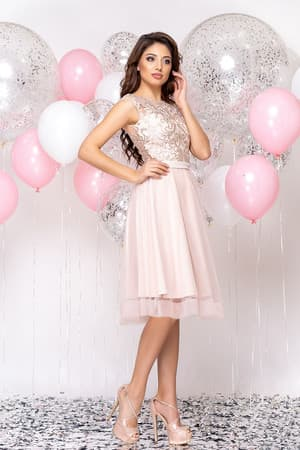 Коктейльное платье с прозрачной вставкой на юбке, фото 5