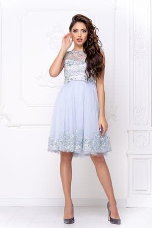 Коктейльное платье с декором на юбке, фото 1