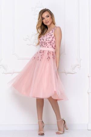 Коктейльное платье с декорированным верхом, фото 3
