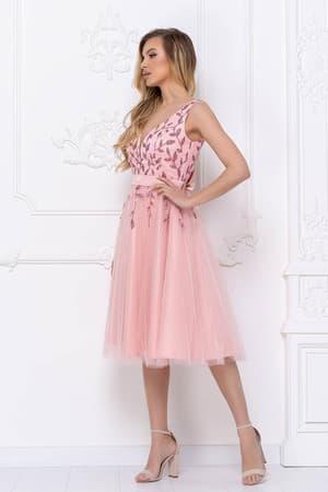 Коктейльное платье с декорированным верхом, фото 5