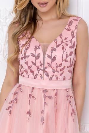 Коктейльное платье с декорированным верхом, фото 6