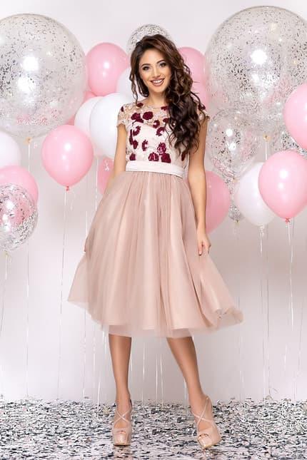 Коктейльное платье с розами, фото 1