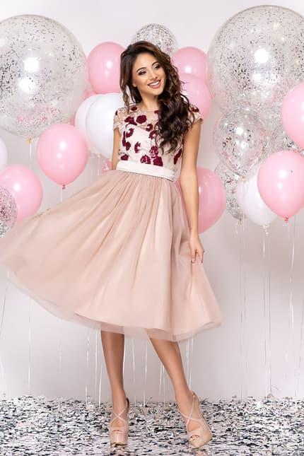 Коктейльное платье с розами, фото 4