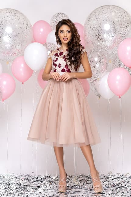 Коктейльное платье с розами, фото 5