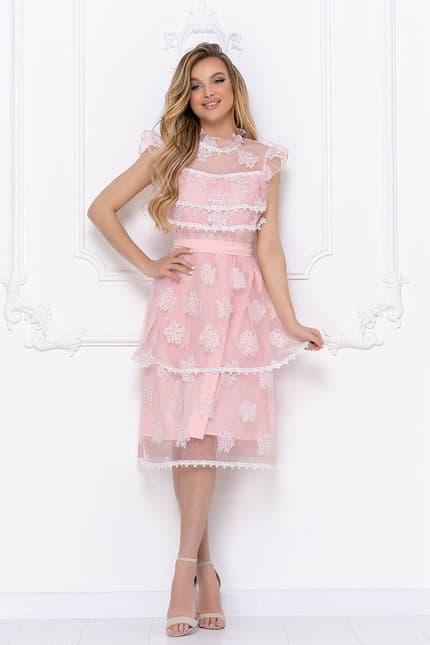 Коктейльное платье с ажурными вставками, фото 1