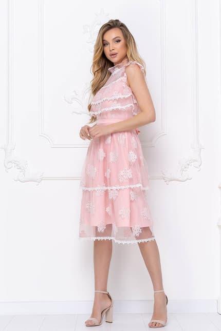 Коктейльное платье с ажурными вставками, фото 3
