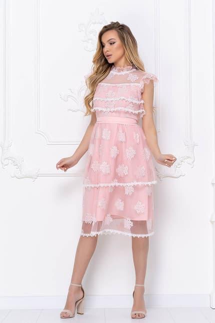Коктейльное платье с ажурными вставками, фото 4