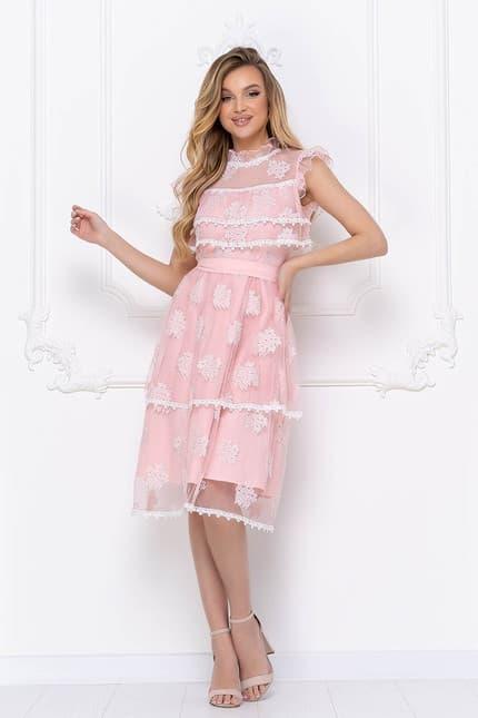 Коктейльное платье с ажурными вставками, фото 5