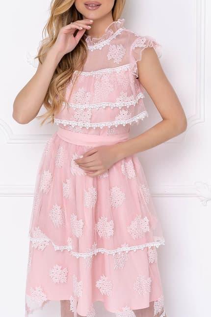 Коктейльное платье с ажурными вставками, фото 6